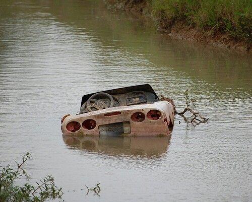 Sunken Vehicles Half Submerged Corvette Sunken Objects