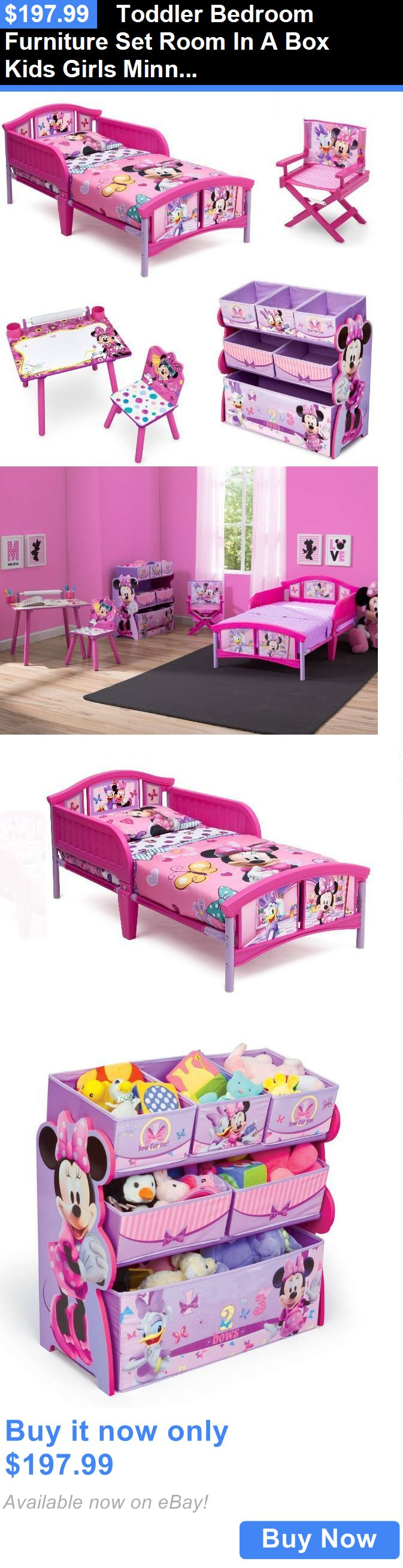 Kids at Home: Toddler Bedroom Furniture Set Room In A Box Kids Girls Minnie Mouse Pink Bed BUY IT NOW ONLY: $197.99
