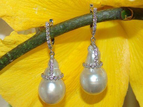 Australian Baroque South Sea earrings wrapped in white diamonds, by Georgina Whitford.