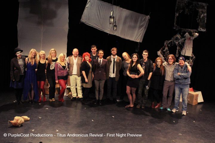 The cast of Titus on the set before their opening night at the Unity Theatre.