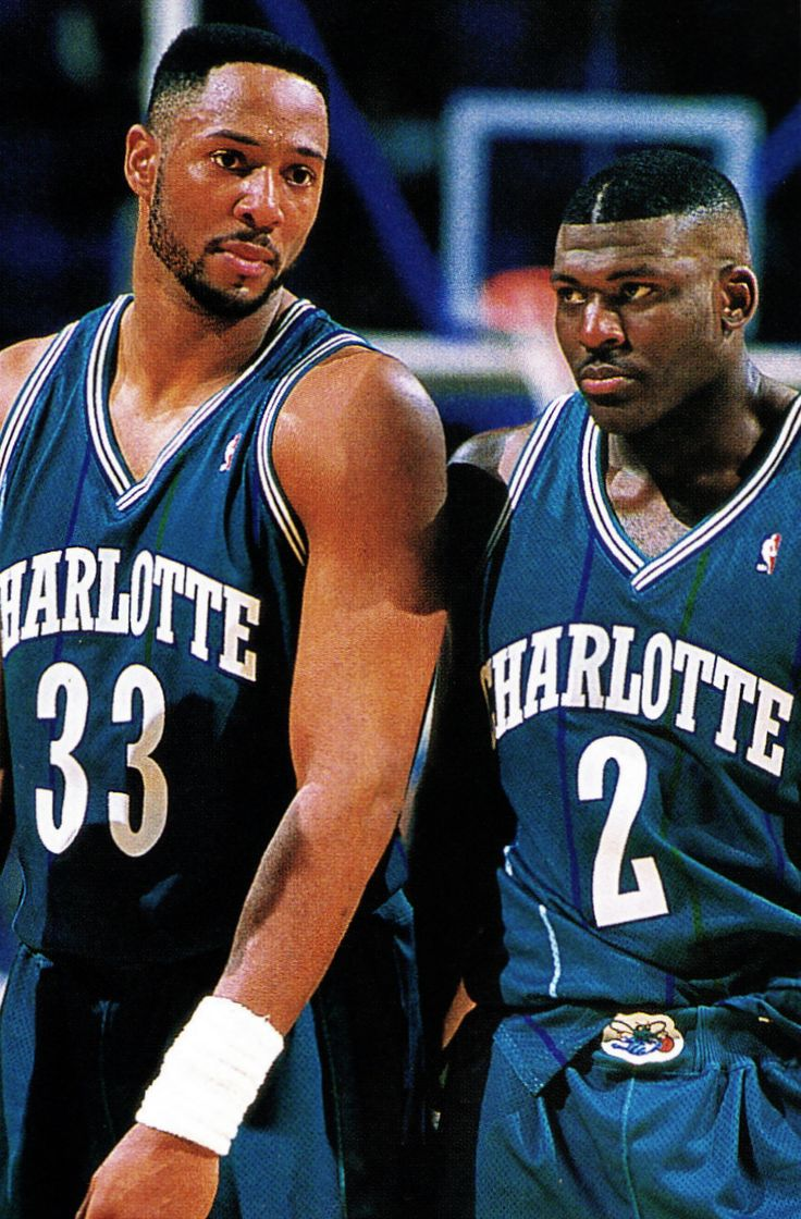 Charlotte Hornets Alonzo Mourning and Larry Johnson