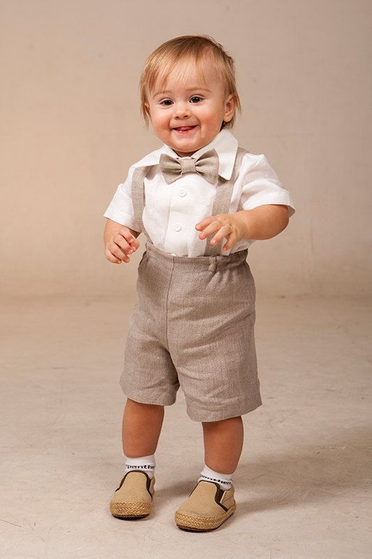 Baby boy linen suit ring bearer outfit SET of 4 first by Graccia