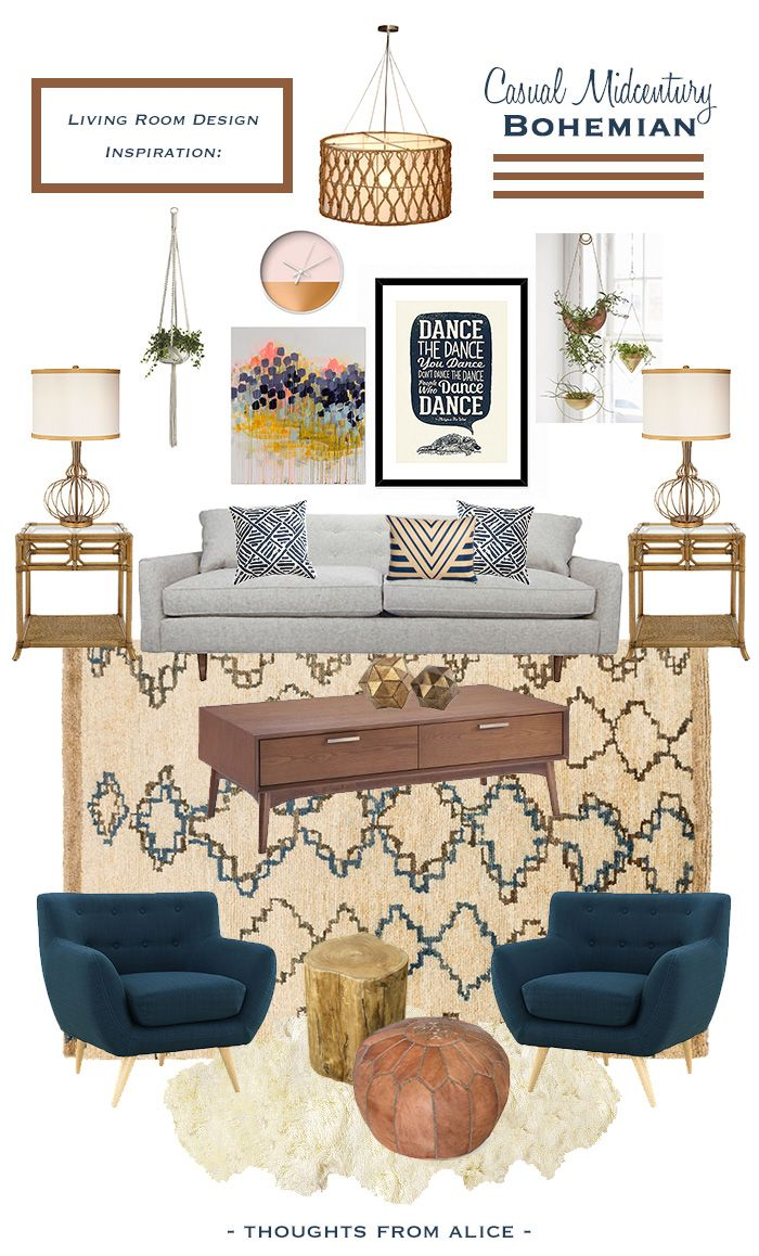 Thoughts from Alice: Casual Midcentury Bohemian {Living Room Design Inspiration}
