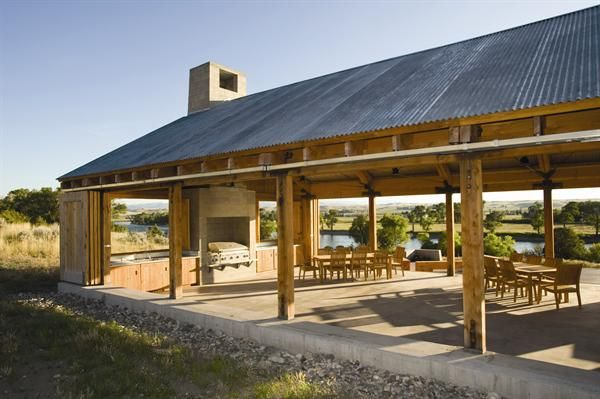 Rustic pavilion plans design details outdoor spaces for Pavilion style home designs