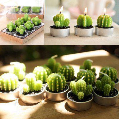Just US$4.49, buy 6PCS Simulation Succulent Plants Shape Candles online shopping at GearBest.com Mobile.