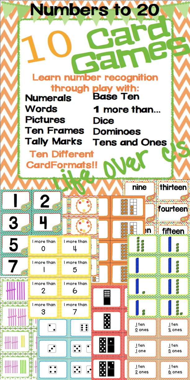 Set of 10 Math Card Games geared toward number recognition. 10 different card formats: numeral, word, picture, tally marks, base ten blocks, dominoes, dice, tens and ones, 1 more than, ten frames. Lots of ways to differentiate!! #math #education #cardgames #tally #array #differentiate #baseten #tenblocks