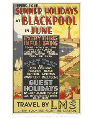 'Summer Holidays at Blackpool', LMS poster, 1923-1947. Poster produced for the London, Midland & Scottish Railway (LMS) to promote rail travel to Blackpool, Lancashire. The central text box details the amusements which can be enjoyed there, superimposed on a view of the town. .,MAR16