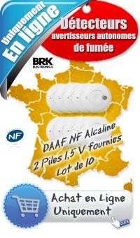 Lot détecteur de fumée NF (DAAF) - NF SA 410 - Prix 160 € ht - lot de 10 BRK - Pas Cher - Sur cette page, nous vous avons sélectionné une nouvelle gamme de détecteur avertisseur autonome de fumée, le détecteur avertisseur autonome de fumée DAAF NF SA 410 Alcaline de BRK. Le détecteur de fumée DAAF NF SA 410 Alcaline de BRK est l'un des plus petits détecteurs de fumée disponible sur le marché. Il vous apportera une protection optimale contre les incendies en toute discrétion...