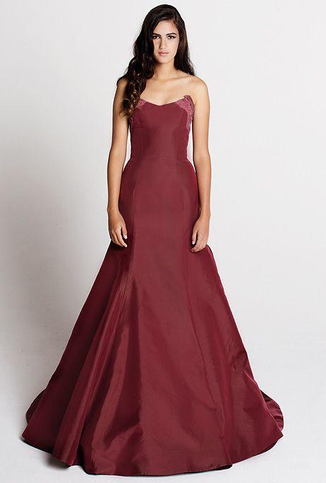 Tara Latour - Fall 2014 - Elsa Red Silk Mermaid Wedding Dress with Lace Details and V-Neckline  