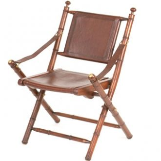 Leather Folding chair - A strong, smart brown leather folding chair with teak frame in a bamboo design with brass tops http://www.petersilk.co.uk/product.php/100/brooklyn-teak-and-leather-folding-chair