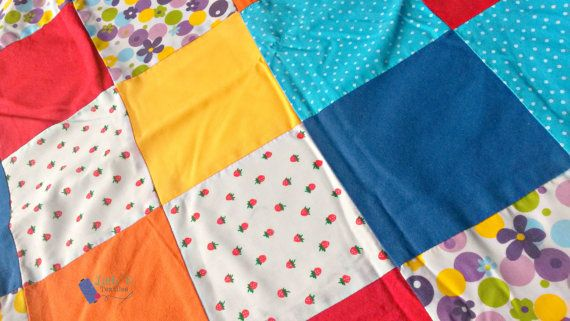 Summertime Patchwork Blanket by LittleTsTextiles on Etsy