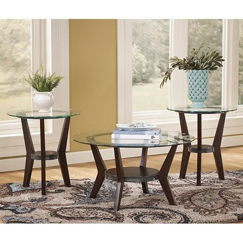 Fantell Occasional Tables - Set of 3 - Dark Brown - Ashley Furniture 459+42.57 tall one is just OK for recliner