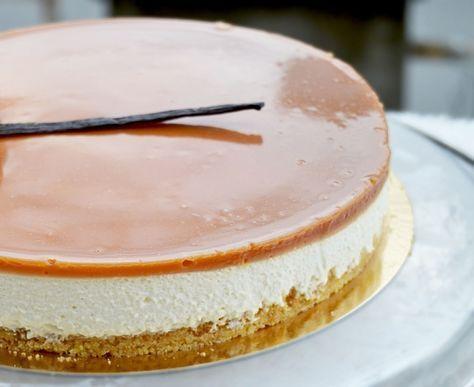 Un dessert bien gourmand ! frais , léger et crémeux le top ! idèal pour finir un repas en beauté car les saveurs vanille/caramel se mêle à merveille pour le bonheur des papilles! j'ai décidé de faire un fond sablé mais libre à vous de réaliser un biscuit... (adapter la recette avec de l'agar agar pour une version veggie)