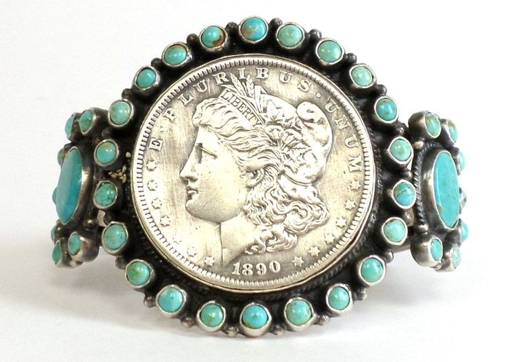 Old Pawn Navajo Sleeping Beauty Turquoise Silver Dollar
