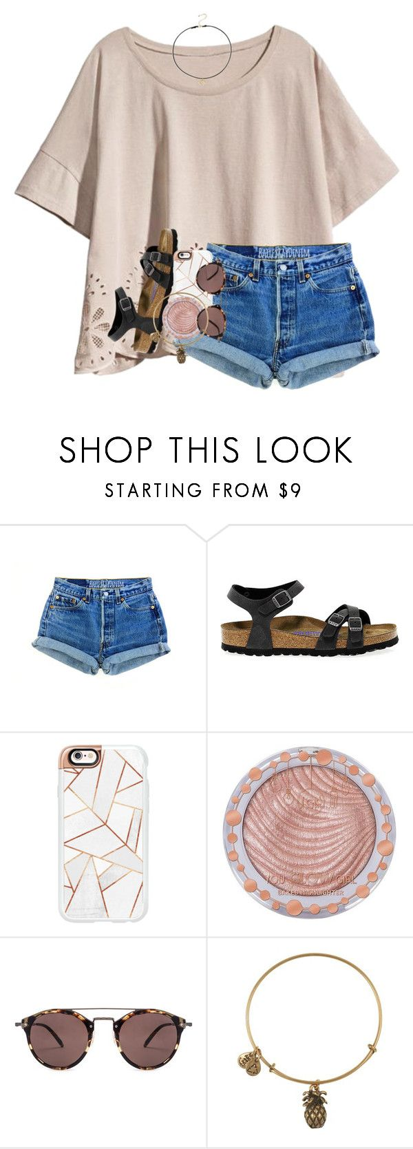 """""""must be love on the brain"""" by madiweeksss ❤ liked on Polyvore featuring H&M, Birkenstock, Casetify, Charlotte Russe, Oliver Peoples, Alex and Ani and Dogeared"""
