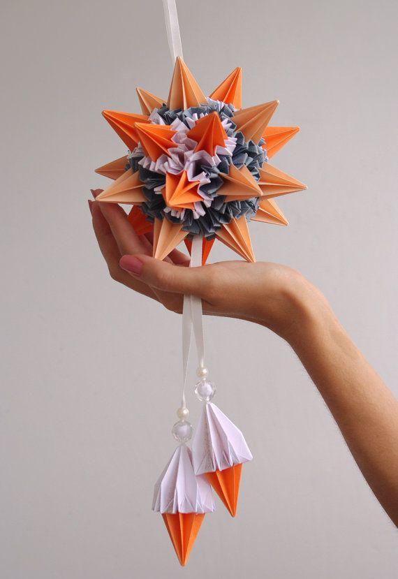 Origami paper ball Kusudama Sea urchin by Waveoflight on Etsy, 55 $ Handmade Holidays Decoration