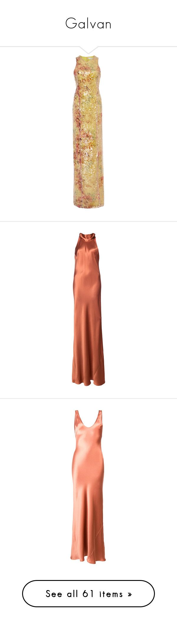 """""""Galvan"""" by maria24serban ❤ liked on Polyvore featuring dresses, multi, form fitted dresses, high neck dress, holiday party dresses, night out dresses, going out dresses, orange, neck-tie and silk dress"""