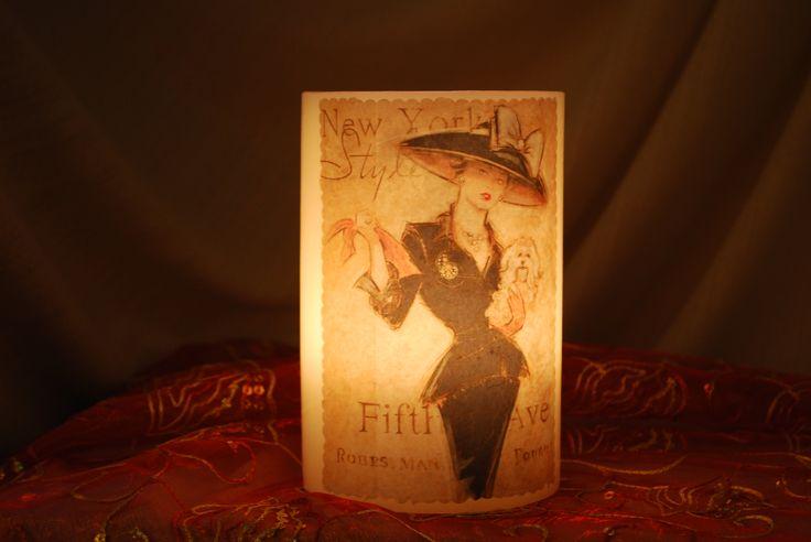 Κερί φαναράκι (βάζετε μέσα ρεσώ) Vintage  φιγούρα γυναίκας