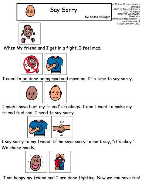 Visual Social Story Packet for Children with Autism: Friendship Set.  This is a collection of 4 social stories about friendship. The stories included are: - It's Okay Not to Win - Standing Up for Your Friend - Saying Sorry - Sharing with Your Friends by theautismhelper.com
