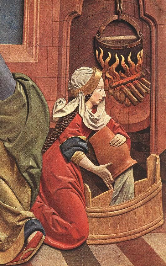 Pouring the Bathing Water | High High Altar of St Mary (detail) | Veit Stoss | 1477-1489