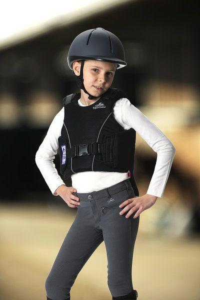 Bustino equitazione protettivo per bambini Equi-thème, leggero e flessibile, si adatta bene al corpo, chiusura con velcro sulle spalle.