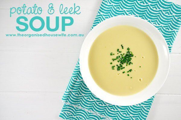 Potato-and-Leek-Soup, a delicious soup served with a crusty bread roll.