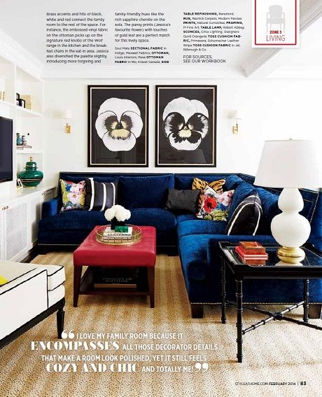 """I love that the colors here are red, white & navy...but it doesn't look like it's an """"American"""" themed room!"""