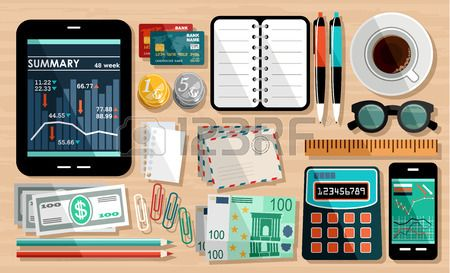 Business workplace elements #flat #design #business #tabletop