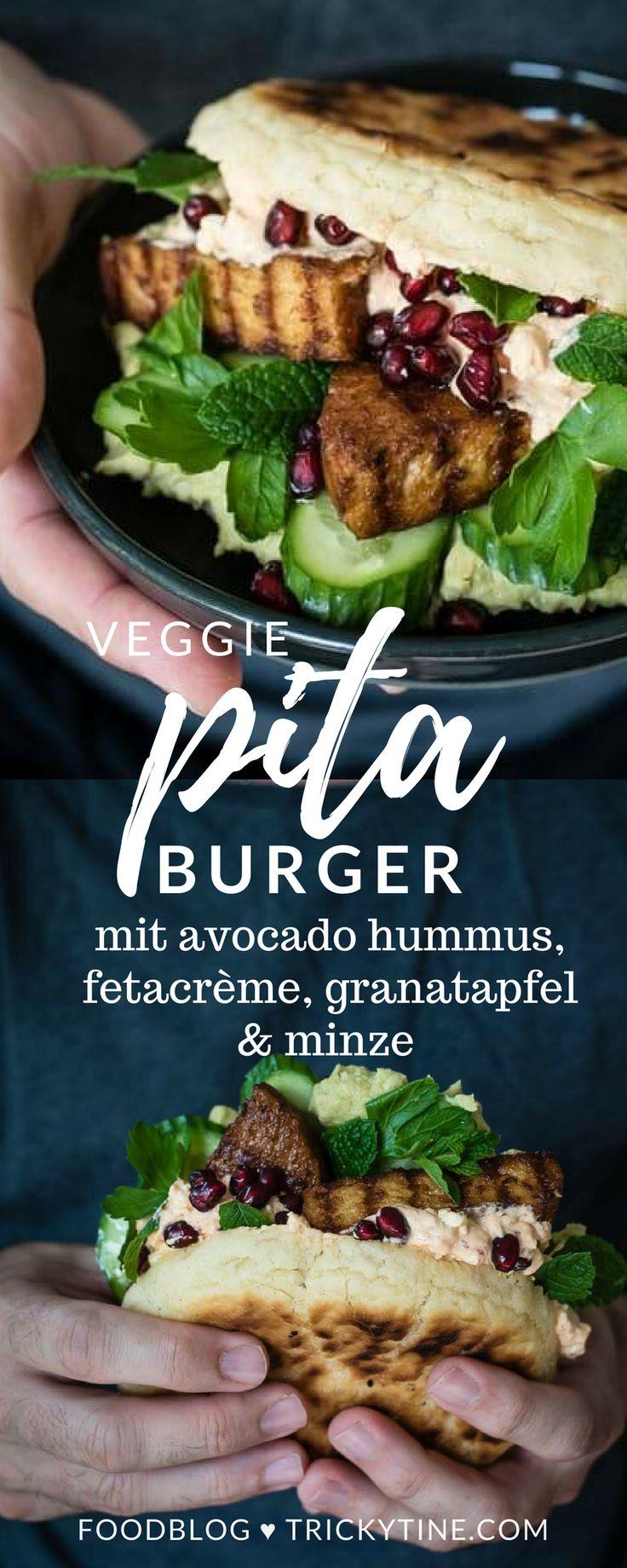 veggie pitta burger mit avocado hummus, fetacrème, granatapfel & minze ♥ trickytine.com