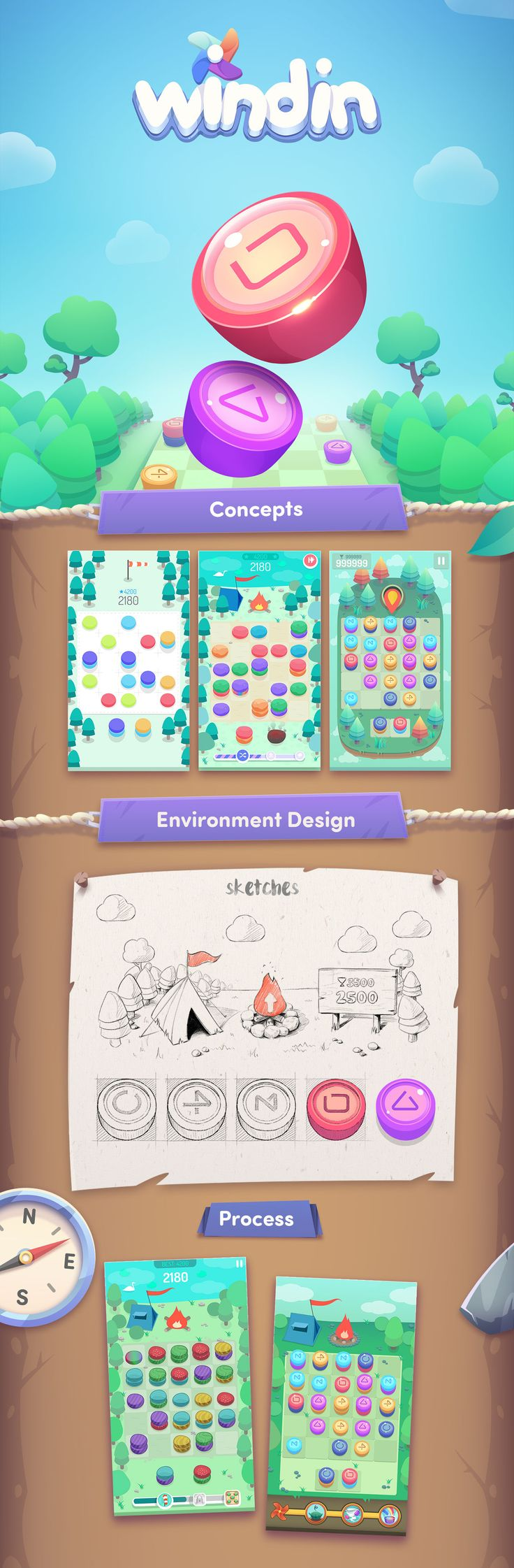 Windin is a mobile puzzle game made by No-pact Game Studio based in Istanbul. We designed and created all the visual content of the game. Hope you enjoy^^