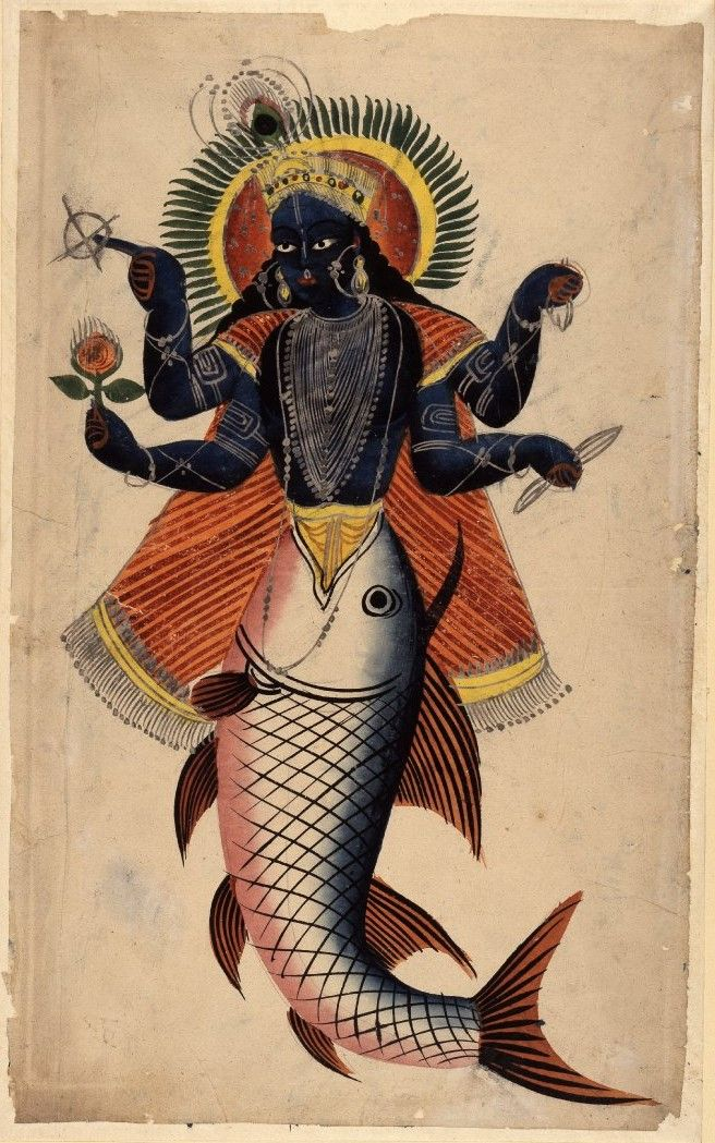 Kalighat painting of Vishnu as Matsya. Calcutta, c1860. All of creation was engulfed by water and disappeared. One of the god's rivals snatched the four Vedas, the most revered scriptures of Hindu tradition, from the hands of Brahma and disappeared with them into the depths. Eventually, with Vishnu's help, they were recovered. Paintings such as this are typical of 19th-cent Calcutta.