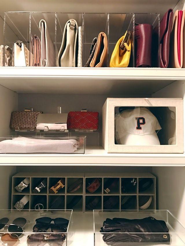 GLAMbox, GLAMdivide, accessories organization, closet organization, clutches, hats, sunglass storage, belt storage, acrylic boxes