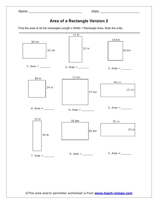 Area Of A Rectangle Worksheets Google Search Algebra