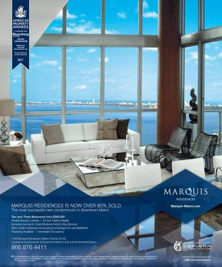 The gleaming, 67-story Marquis Residences Miami tower enjoys unobstructed views of all of Miami.