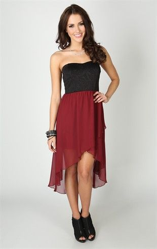 Deb Shops Strapless Dress with Embossed Bodice and High Low Tulip Skirt  $34.90