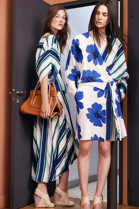 Chloé Resort 2015- Colour- The two contrasting patterns sit in harmony together due to same colour palette-