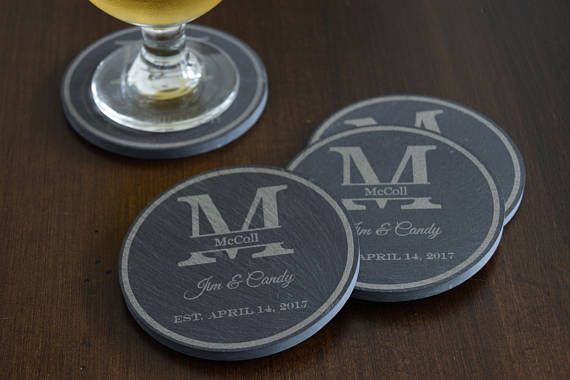 Personalized+Rustic+Slate+Coasters,+Engraved+Blue+Slate+Coasters,+Monogrammed+Stone+Coaster,+4+pc+Slate+Coaster+Set,+Custom+Beer+Coaster+Set
