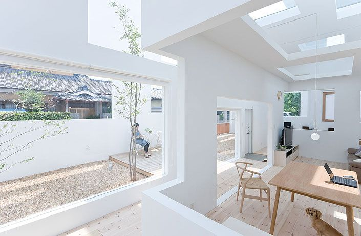 """house-n-fujimoto  A house being separated by several walls creating gradations in distance, a place inside the house that is fairly near the street; a place that is a bit far from the street, and a place far off the street, in secure privacy"""""""