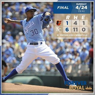 #Royals take rubber match with Orioles behind strong performance from @yordanoventurah. #ForeverRoyal | royals.com