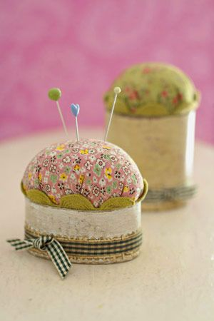 Create these pincushions as gifts for quilters. To personalize them, select bits of ribbon, rickrack, and fabric from a memorable event or choose trims in colors that complement a sewing room decor.