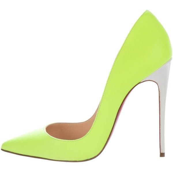 Pre-owned Christian Louboutin So Kate Neon Pumps ($495) ❤ liked on Polyvore featuring shoes, pumps, yellow, yellow leather shoes, leather pumps, neon yellow pumps, neon yellow shoes and neon shoes