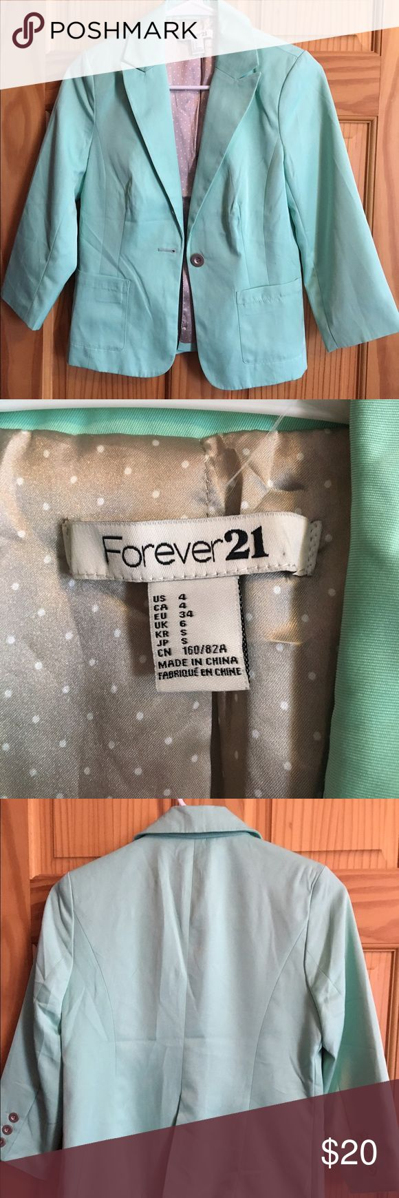Mint green blazer Mint green blazer. Super cute for spring. The close up photos show the coloring best. Forever 21 Jackets & Coats Blazers