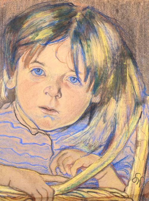 """Stanisław Wyspiański - """"Główka dziecka"""" , pastel, 1900, 32x25,5 cm"""