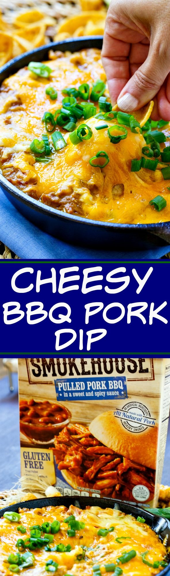 Cheesy BBQ Pork Dip is perfect for game day. So easy to make with @FarmRichSnacks Smokehouse BBQ Pulled Pork #ad