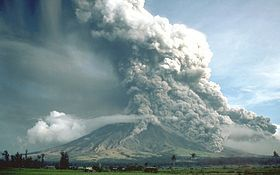 Mayon Volcano, Philippines:  Pyroclastic flow is a fast-moving current of hot gas and rock (collectively known as tephra), which reaches speeds moving away from a volcano of up to 450 mph. The gas can reach temperatures of about 1,830 °F. Pyroclastic flows normally hug the ground and travel downhill, or spread laterally under gravity. Their speed depends upon the density of the current, the volcanic output rate, and the gradient of the slope. They are a common and devastating result...