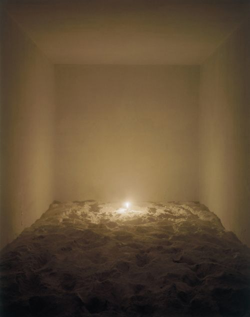 """Cildo Meireles - Volatile (1980/94) A room with talcum powder covering the floor, a lit candle and the faint smell of gas. Meireles says """"when you have fear, your senses become heightened. You become more attentive to your environment.''"""