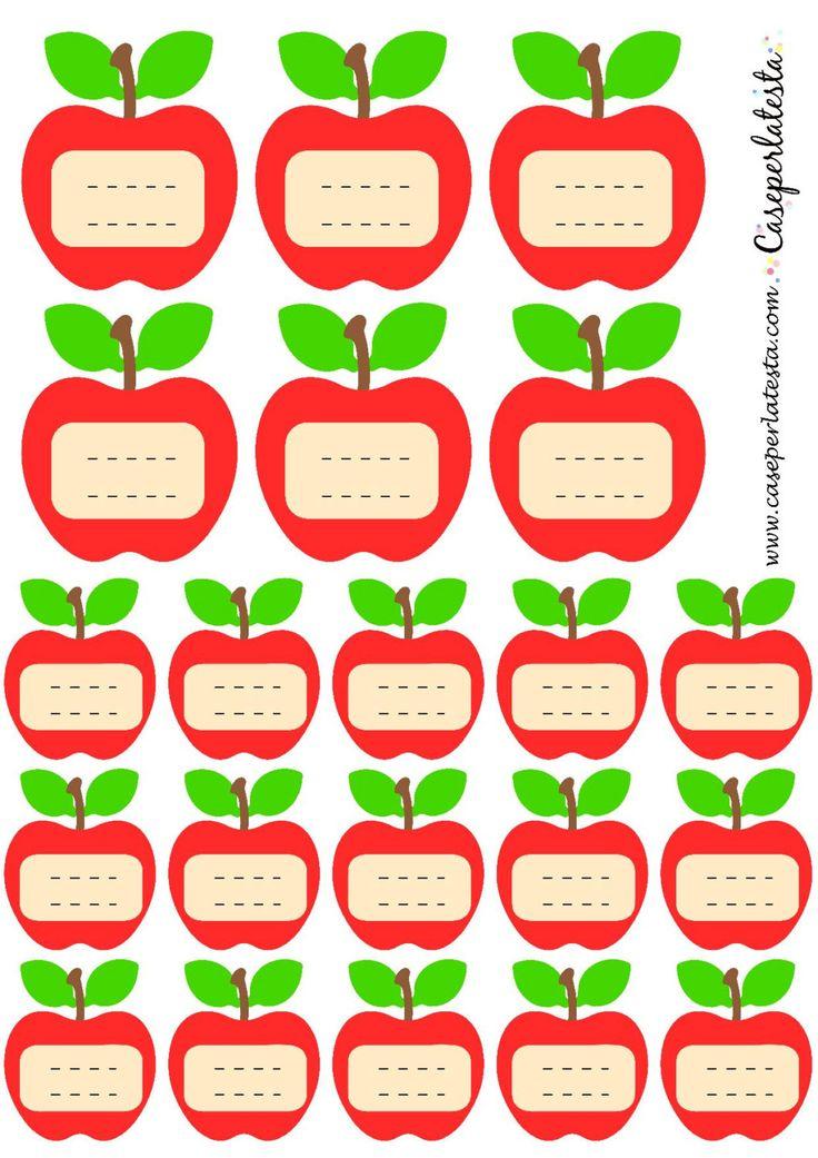 Etichette stampabili a forma di mela di Caseperlatesta su Etsy