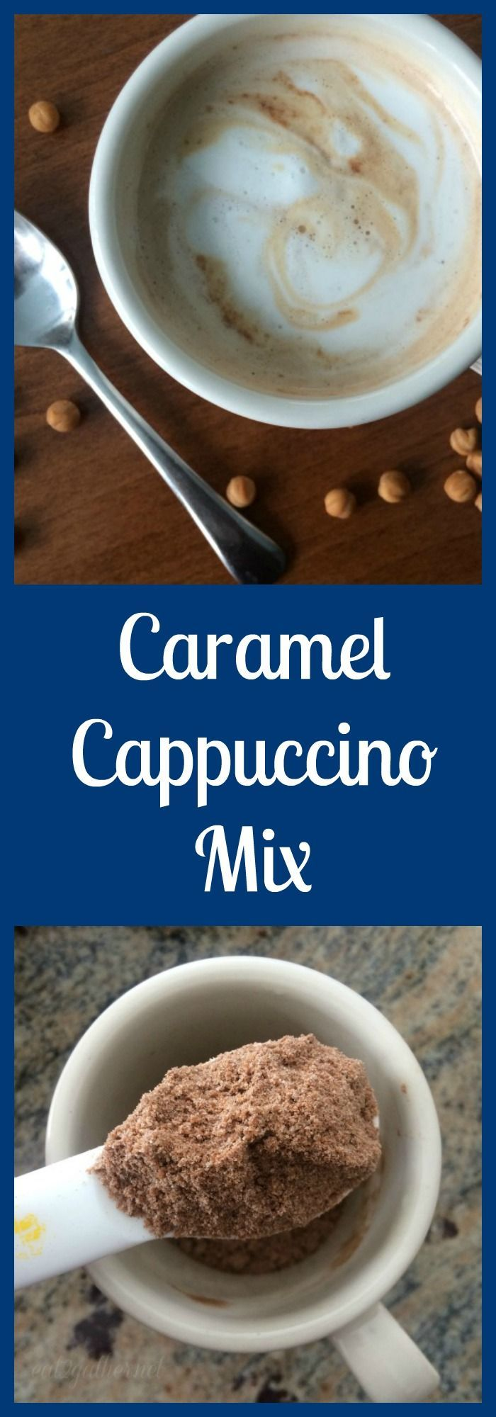 During the winter months there is nothing better than a hot steamy cup of Caramel Cappuccino.  Use this easy to make dry cappuccino mix and you will be able to make one in no time! Just add hot water! From /eat2gather/