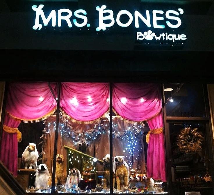 dog nativity scene! holiday window display Mrs. Bones