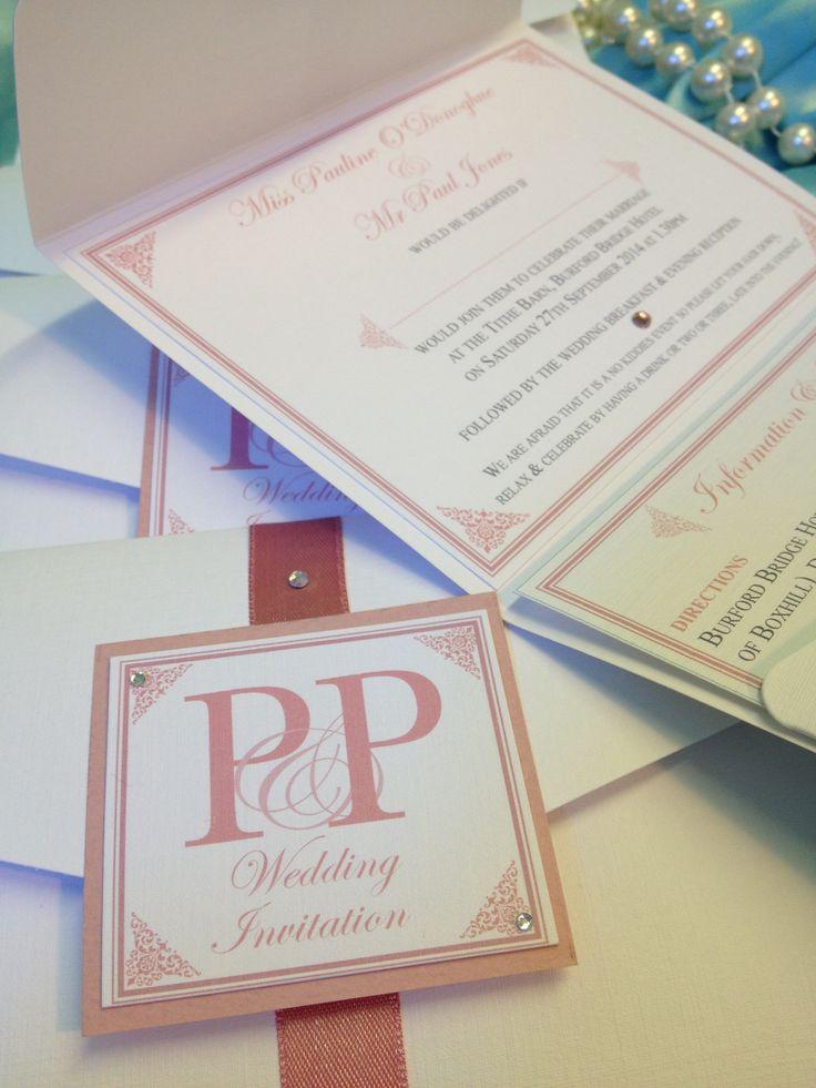 Pocketfold wedding invitations handmade bespoke vintage
